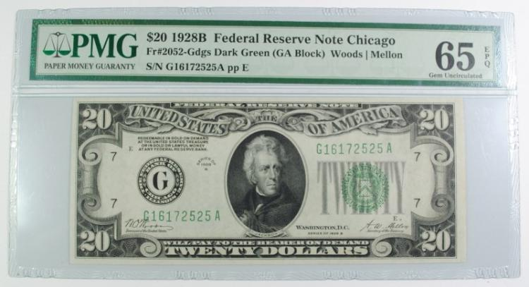 1928 B $20 FEDERAL RESERVE NOTE CHICAGO PMG 65EPQ