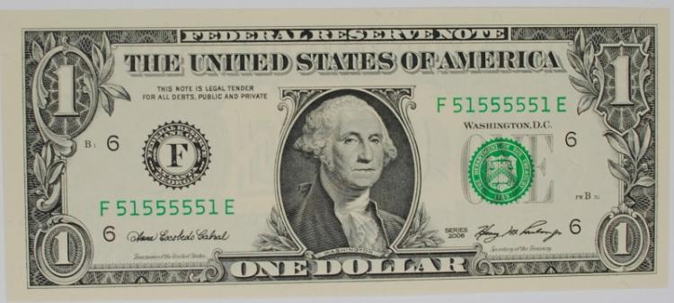 2006 $1 FEDERAL RESERVE NOTE BINARY FANCY SERIAL # GEM CU