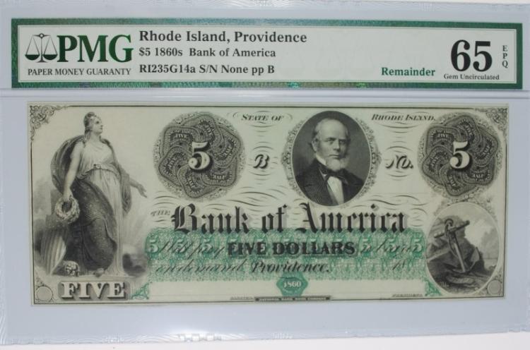 1860s $5 BANK OF AMERICA RHODE ISLAND, PROVIDENCE PMG 65EPQ