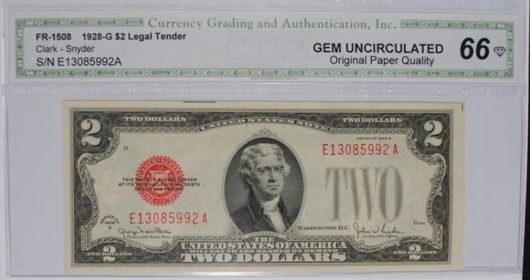 1928 G $2 LEGAL TENDER (FR 1508) CGA 66-OPQ