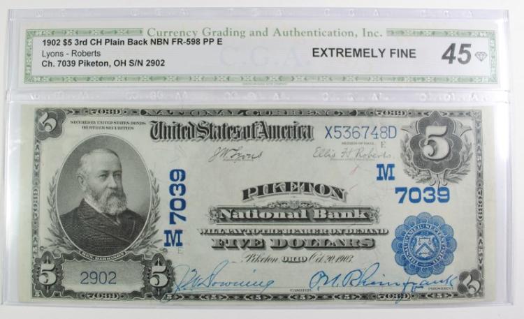 1902 $5 PLAIN BACK NATIONAL CURRENCY CH#7039 PIKETON NATIONAL BANK CGA 45 NICE!
