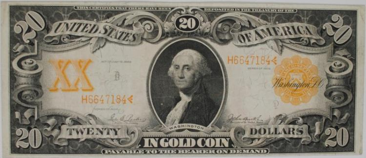 1906 $20 GOLD CERTIFICATE DEEP COLOR VERY SCARCE EARLY GOLD COIN XF