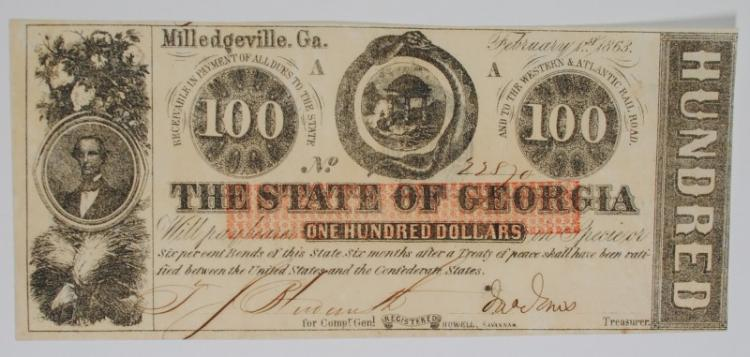 1863 $100 STATE OF GEORGIA FULLY ISSUED CIVIL WAR CH.CU
