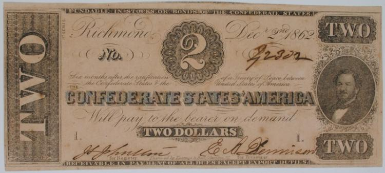 1862 $2 CONFEDERATE STATES OF AMERICA (T-54) #42302 SCARCE AU
