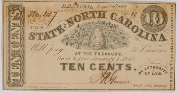 1862 10 CENTS STATE OF NORTH CAROLINA #147  FULLY ISSUED CIVIL WAR CU