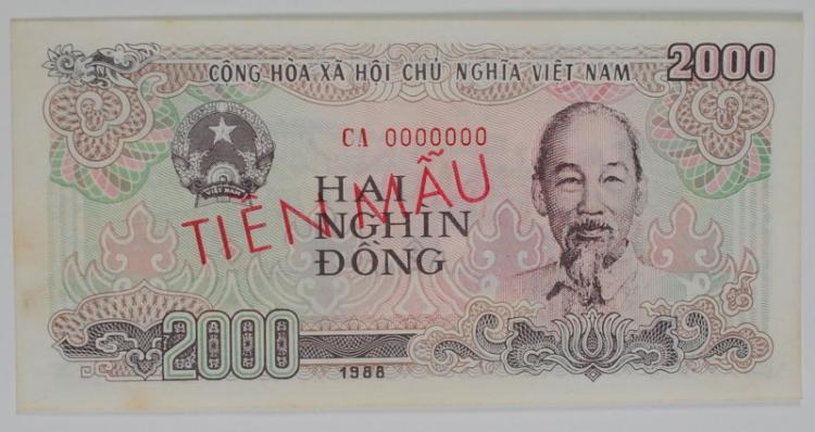 1988 DONG NORTH 2000 VIETNAM SPECIMEN #CA0000000 GEM CU