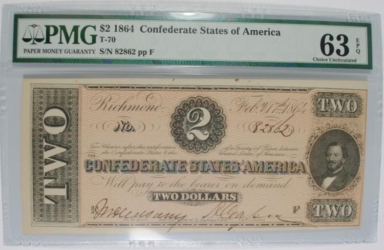 1864 $2 CONFEDERATE STATES OF AMERICA (T-70) #82862 PMG 63EPQ