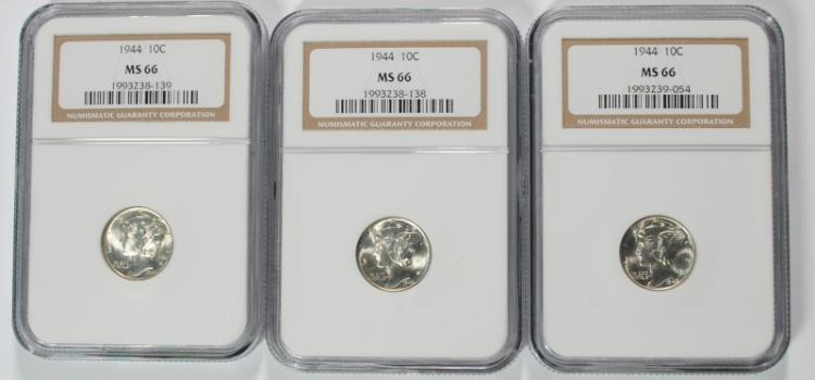 3 - 1944 MERCURY DIMES, NGC MS 66