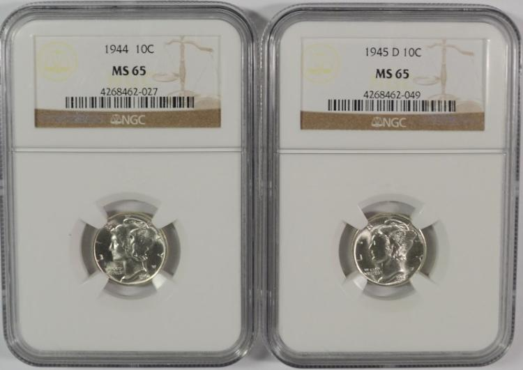1944 & 1945-D MERCURY DIMES, NGC MS-65