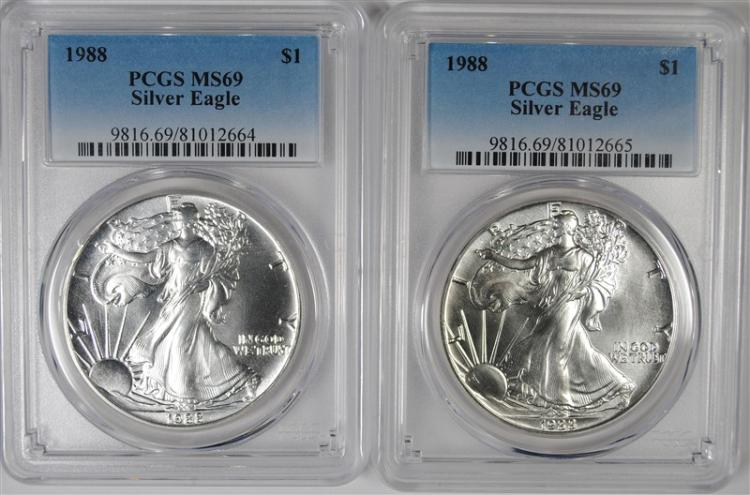 ( 2 ) 1988 AMERICAN SILVER EAGLES, PCGS MS-69