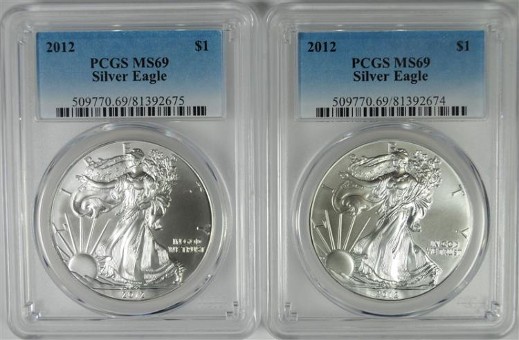 2-2012 AMERICAN SILVER EAGLES, PCGS MS-69