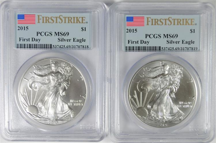 2-2015 AMERICAN SILVER EAGLES PCGS MS-69 FIRST STRIKE
