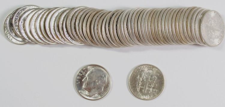 GEM BU ROLL OF ( 50 ) 1955-S ROOSEVELT DIMES
