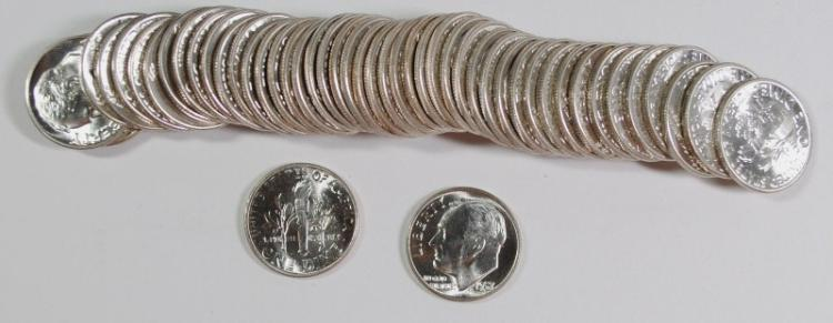 GEM BU ROLL OF ( 50 ) 1957 ROOSEVELT DIMES