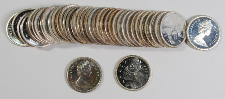 MIXED DATE ROLL OF SILVER CANADIAN QUARTERS FROM PL SETS 20-1965 10-64 3-67 7-66