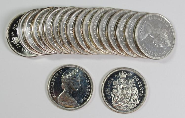 ( 10 ) 1964 & ( 10 ) 1966 CANADIAN HALF DOLLARS FROM PL SETS