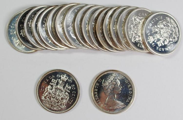 GEM BU ROLL OF 1965 CANADIAN SILVER  HALF DOLLARS  ( 20 ) COINS