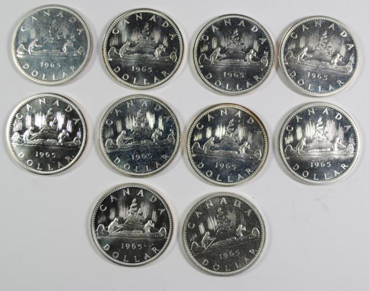 ( 10 ) PROOF 1965 CANADIAN SILVER DOLLARS