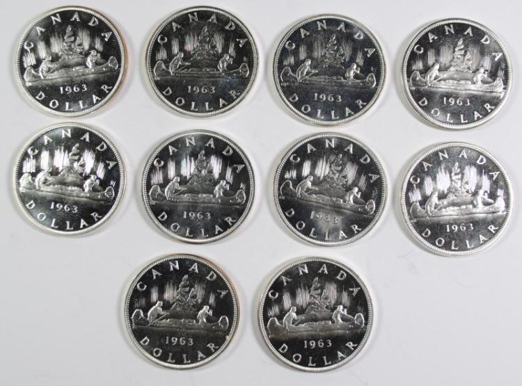 ( 10 ) PROOF 1963 CANADIAN SILVER DOLLARS