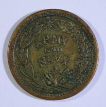 1863 CIVIL WAR TOKEN F-207/327-A  FLAG OF OUR NATION, NICE XF