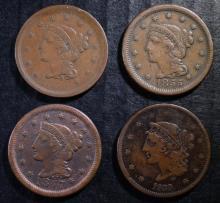U.S. LARGE CENT LOT: 1839 FINE, 1847-FINE, 1852-VF & 1855 VF