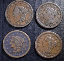 U.S. LARGE CENT LOT: 1831 VG, 1844-VG, 1847-FINE & 1852-FINE