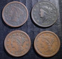 U.S. LARGE CENT LOT: 1826-FINE, 1849-VG, 1851-VF & 1856-VF