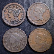 U.S. LARGE CENT LOT: 1819-VG, 1827-VG+, 1841-FINE & 1849-VF