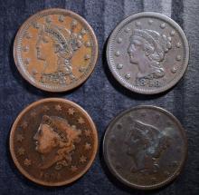 U.S. LARGE CENT LOT: 1834-VG, 1842-VG, 1848-VF  & 1853-XF