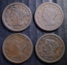 U.S. LARGE CENT LOT: 1841-FINE, 1845-FINE, 1846-VF  &  1848-FINE