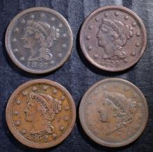 U.S. LARGE CENT LOT: 1838-VG/FINE, 1844-FINE, 1847-VG+ & 1852-VF