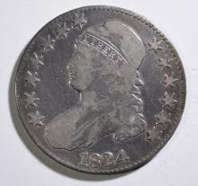 1824 BUST HALF DOLLAR, FINE