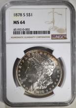 1878-S MORGAN SILVER DOLLAR, NGC MS-64