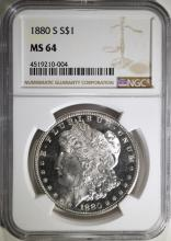 1880-S MORGAN SILVER DOLLAR, NGC MS-64