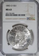 1883-O MORGAN SILVER DOLLAR, NGC MS-63