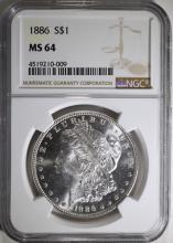 1886 MORGAN SILVER DOLLAR, NGC MS-64