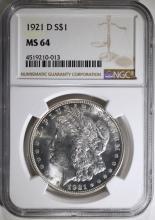 1921-D MORGAN SILVER DOLLAR, NGC MS-64