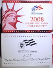 2007 & 2008 U.S. SILVER PROOF SETS IN ORIGINAL PACKAGING