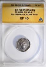 98-99 AD SILVER DENARIUS TRAJAN ROMAN EMPIRE ANACS EF 40