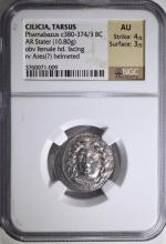 380-374 BC SILVER STATER CILICIA / TARSUS GREECE NGC AU 4/5 3/5  VERY RARE
