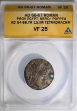 66-67 AD SILVER TETRADRACHM NERO PROVINCIAL ROME ANACS VF 25  HISTORICAL