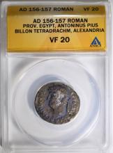 156-157 AD SILVER TETRADRACHM ANTONINUS PIUS PROVINCIAL ROME ANACS VF 20