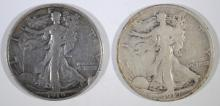 WALKING LIBERTY HALF DOLLARS: 1919-D VG & 1919-S FINE rim bump
