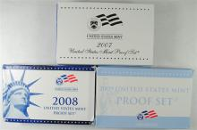 U.S. PROOF SETS; 2007, 2008, 2009 - ORIGINAL BOX/CERT