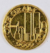 1 GRAM .999 GOLD FROM THE COHEN MINT ( 31.10384  GRAMS ) = ONE TROY OUNCE )