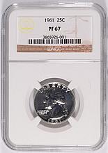 1961 WASHINGTON QUARTER, NGC PROOF-67 SUPERB COIN!!