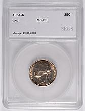 1954-S JEFFERSON NICKEL, SEGS MS-65 GEM  RARE!