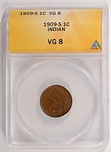 1909-S Indian Head Cent ANACS VG-8