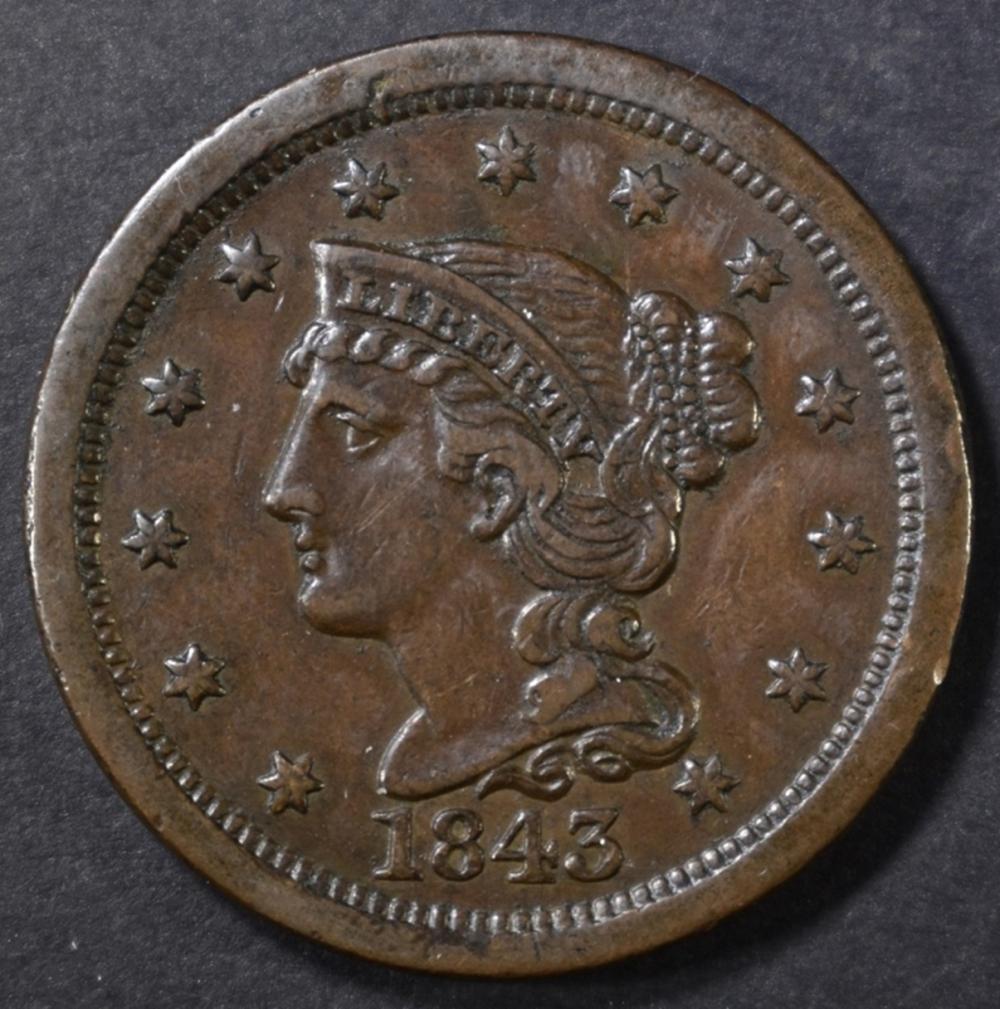 1843 LARGE CENT CH AU