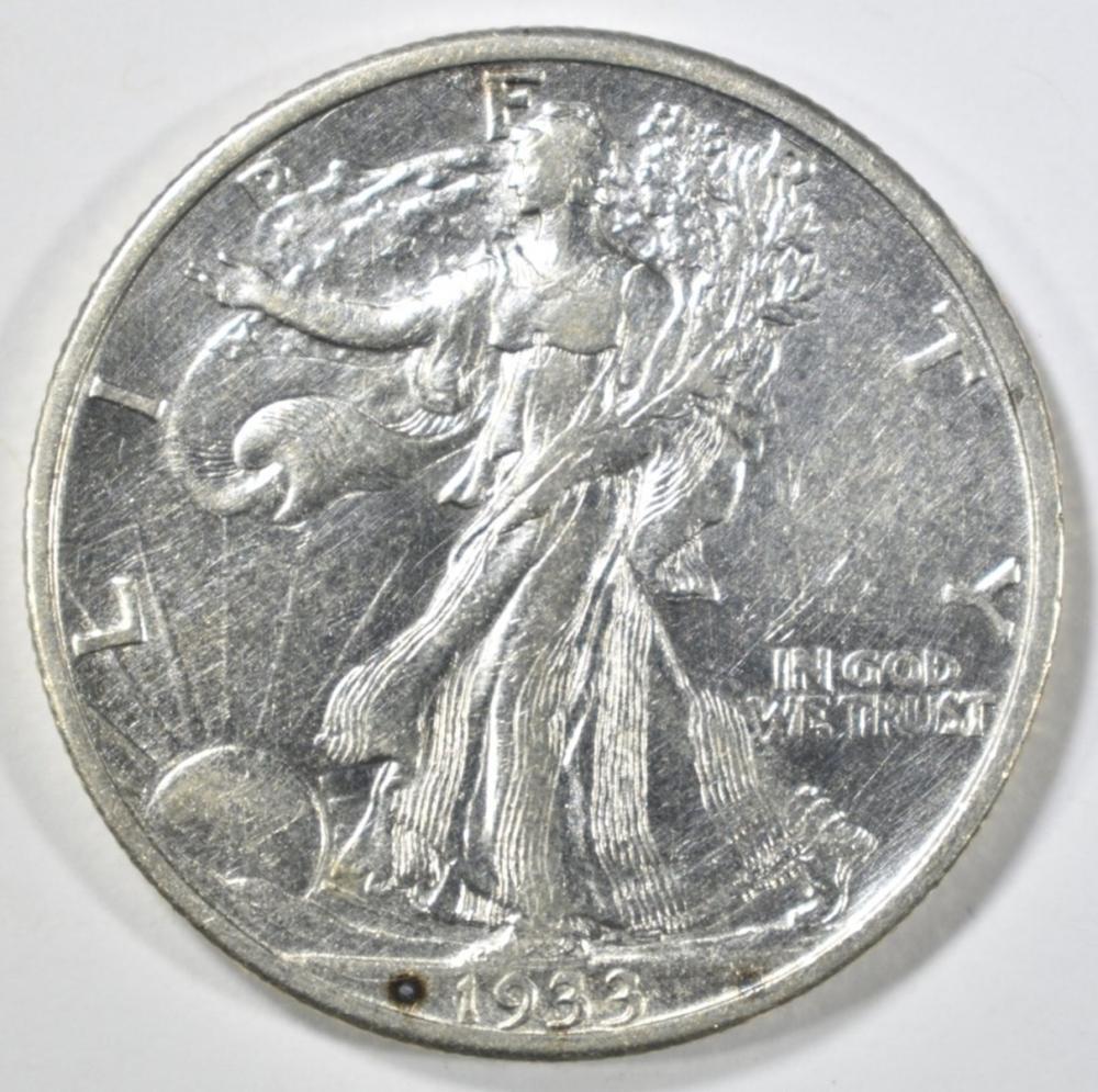 1933-S WALKING LIBERTY HALF DOLLAR AU